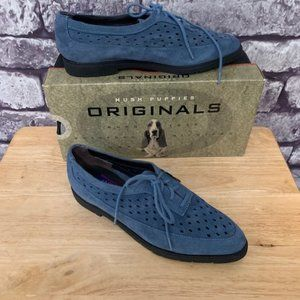 Original Hush Puppies Leather Blue Suede Shoes